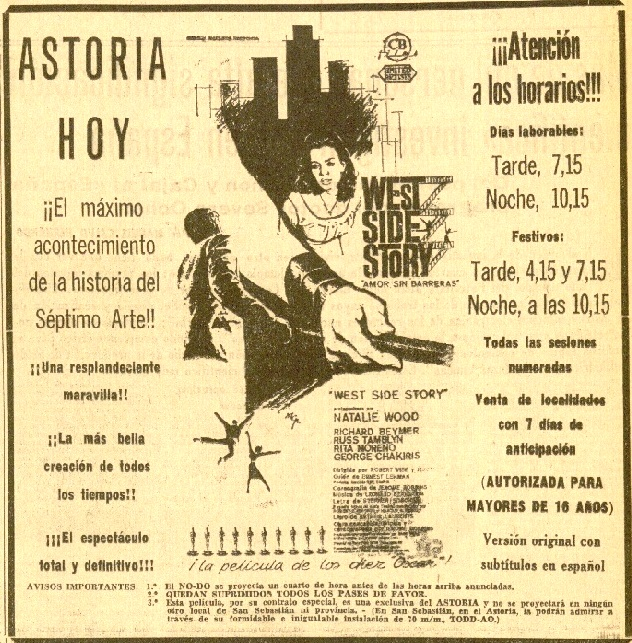 DV 04feb1964 West Side Story en Astoria - anuncio recortado