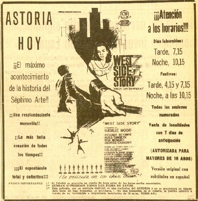 DV 04feb1964 West Side Story en Astoria - anuncio recortado