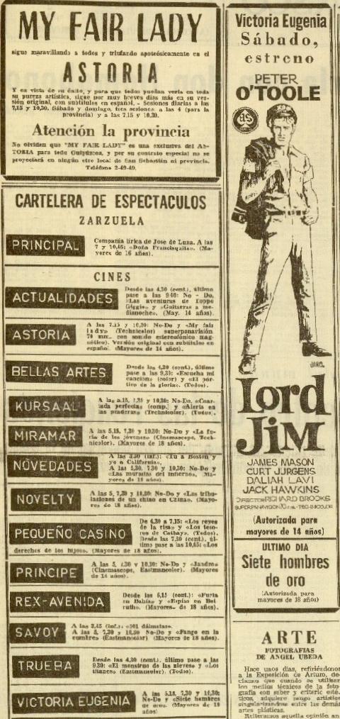 DV 10mar1966 Cartelera, Lord Jim y May Fair