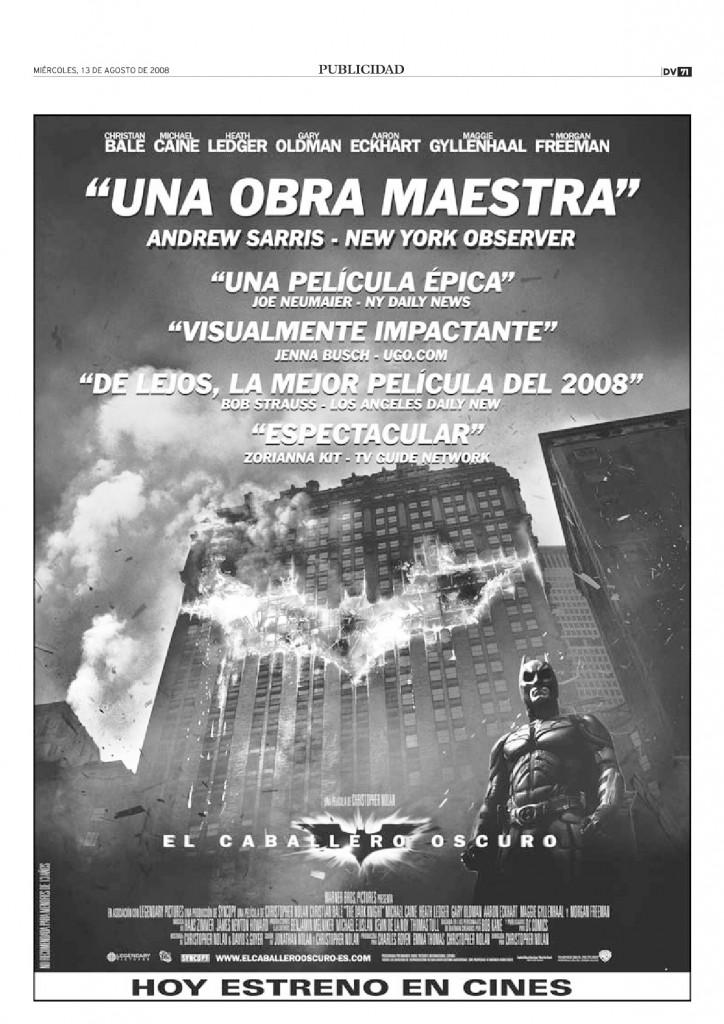 DV 13ag2008 Anuncio El caballero oscuro en ABerri