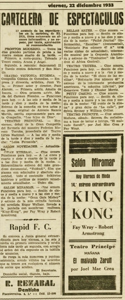 El Día 22dic1933 Estreno King Kong.jpeg
