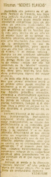 La Voz de E 29jul1959 Crítica Noches blancas.jpeg